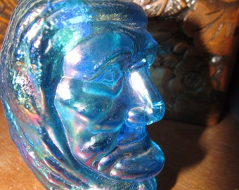 Blue Carnival Glass Indian Head Joe St Clair Toothpick Holder