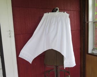 "Vintage Edwardian 1900s 1910s 1920s white cotton bloomers drawers Flapper underwear eyelet lace 25"" waist 38"" hips (4717)"