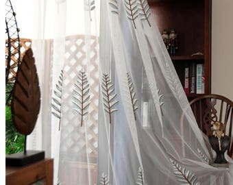 White Curtains Fabric With Embroidery Tree, Window Gauze Fabric For Dining  Room, Bedroom,