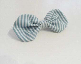 Stripes hair bow clip, Blue bow barrette, Fabric hair bow tie
