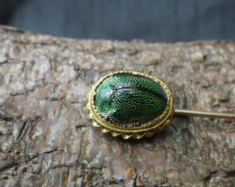 Antique 15ct Yellow Gold Scarab Beetle Stickpin Cravat Pin