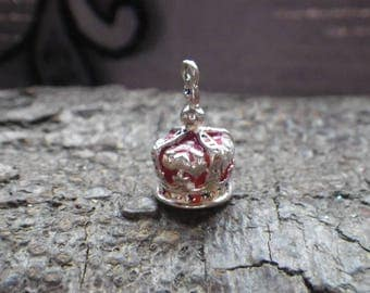 Vintage Sterling Silver Gem Set Jubilee Crown Charm Pendant