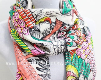 Coral parrot square scarf, parrot scarf,  bird scarf, square wrap, fall scarf, loop scarf, winter scarf, Christmas gift, for her