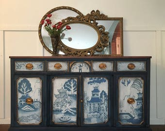 Hand Painted Blue Willow Buffet