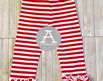 Toddler Red Striped Ruffle Pants