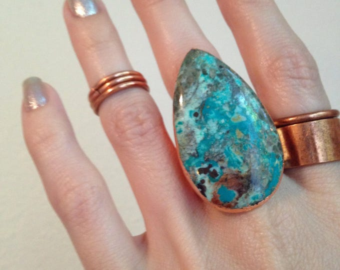 Chrysocolla with Rose Gold Leaf Statement Ring, Crystal Cuff Ring, Crystal Statement Ring, Chrysocolla Statement Ring , Size 8.75 Ring