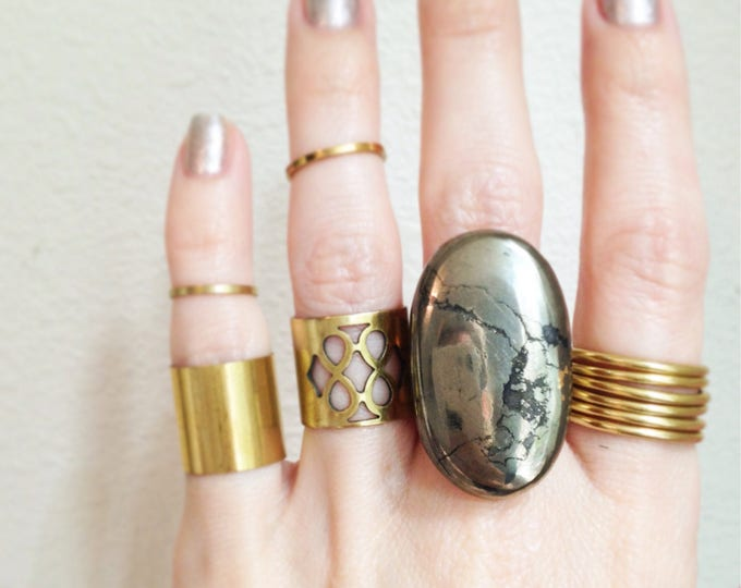 Pyrite Double Band Ring, Pyrite Statement Ring, Size 5 Ring, Size 5 Pyrite Ring