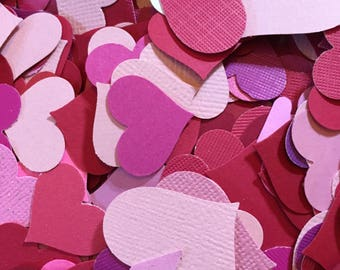 Hearts 500 Assorted Pink and Red Hearts Hand Punched Cut Hearts. Confetti Hearts for Weddings, Table Decorations, Scrapbooks, Papercrafts.