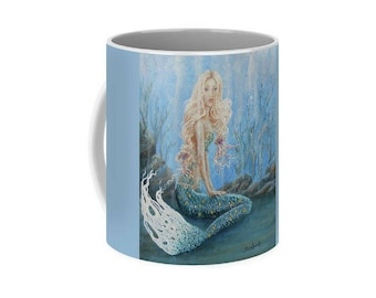 Beautiful mermaid art mug, little mermaid coffee mug, blue unique mermaid cup, original painting by Nancy Quiaoit