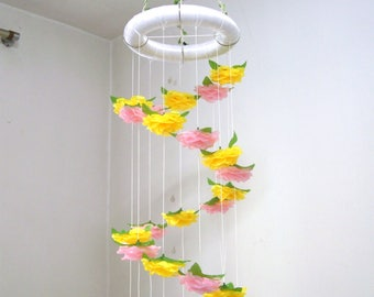 Baby Mobile Hanging,Girl,Boy,Flower Mobile Nursery,Crib Mobile,Baby Shower decor,Wedding Chandelier,Birthday Gift,Spiral Silk Rose,Yellow