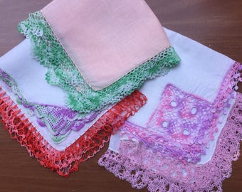 SALE Hanky Collection of 5  Crochet Repurposing Crafting Sewing Use