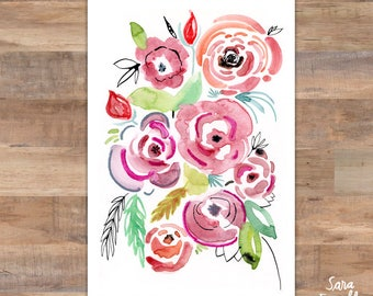 Roses Nursery Art, Nursery Decor, Rose Nursery Art, Baby Girl Nursery, Floral Nursery Art, Nursery Wall Art