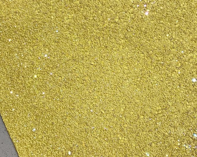 Belle Yellow Chunky Glitter Fabric Sheet A5 orA4 Size Yellow Glitter Fabric -  8X11 Glitter Sheet