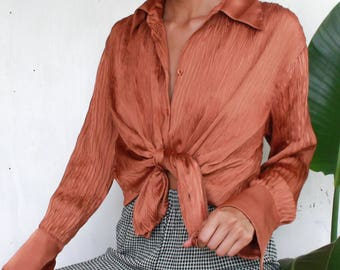 Burnt Orange Crinkle Button Up Blouse with Bell Sleeves