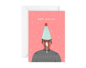 Happy Birthday card - stationery birthday fun party hat party card birthday party fun illustrated card colourful card
