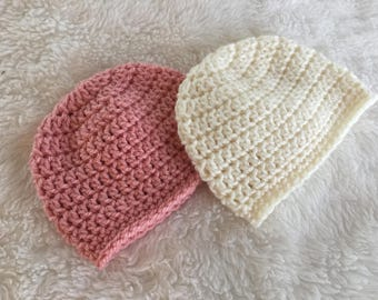 Crochet newborn beanie, crocheted baby beanie, baby gift, crochet baby hat, baby shower gift, take home beanie