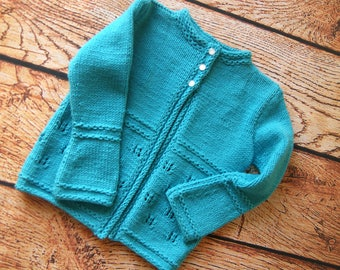 Toddler girl sweater knit, Blue sweater for girl, Toddler blue sweater, Knit girls sweater, Hand knit sweater, Toddler sweater knit