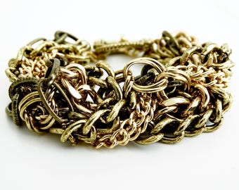 Chunky Chain Bracelet, Layered Chain Bracelet, Antique Gold Chain Jewelry, Chunky Bracelet, Layered Gold Bracelet, Chunky Gold Bracelet