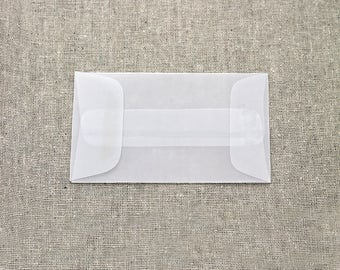25 Mini Translucent / Vellum Envelopes - Seed Envelopes - White Envelopes - 2.25 x 3.75 inches