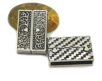 Black magnetic clasp to cuff 32 x 22 x 8 mm silver