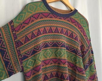 Oversized Sweater Vintage Aztec Stripe Green Gold Red Blue Purple Cotton