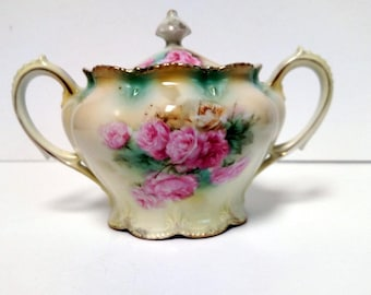 Antique RS Prussia Covered Sugar Bowl-Marked-Elegant and Dainty Victorian piece-Marked on Base-Beautiful-Circa late 1800's