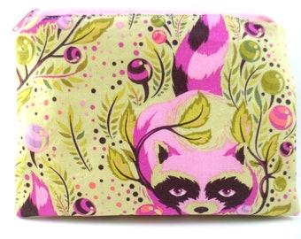 Double Mini Wet Bag 6 x 4.5 inch approx. Raccoon Tula Pink print.