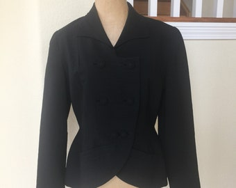 Vintage 1940s Fitted Suit Jacket Womens Black Sz 8