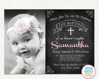 25% OFF Printable Baptism Invitation - Christening Invite - Dedication - Church - Godparents - Photo Invite - Printable - Chalkboard - Pink