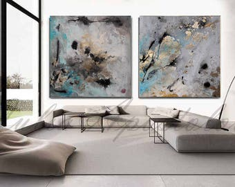 large wall art for living room. 90x45inch  Set of Two Paintings Abstract Watercolor Print Gold Leaf Painting Teal Extra large wall art Etsy