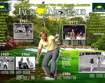 """6-Time Masters Champion Jack Nicklaus 19""""x13"""" Achievement Poster"""