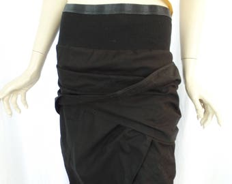 vintage  RICK OWENS  Creatch black deconstructed wrap style tube skirt/ ribbed stretch hip band/convertible design: IT 44