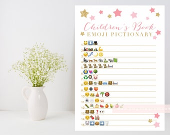 Children's Book Emoji Pictionary printable, Twinkle Star shower game, baby book downloadable, pink and gold INSTANT DOWNLOAD 006