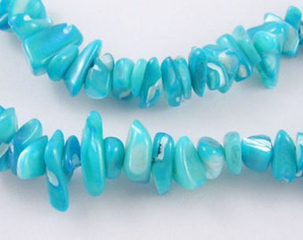 """40 cm 16"""" Strand Shell Beads Strands, Pearlized, Chip, Aqua, Water Dyed, about 6~14mm long, Gemstone Beads, , Semi-Precious Beads"""