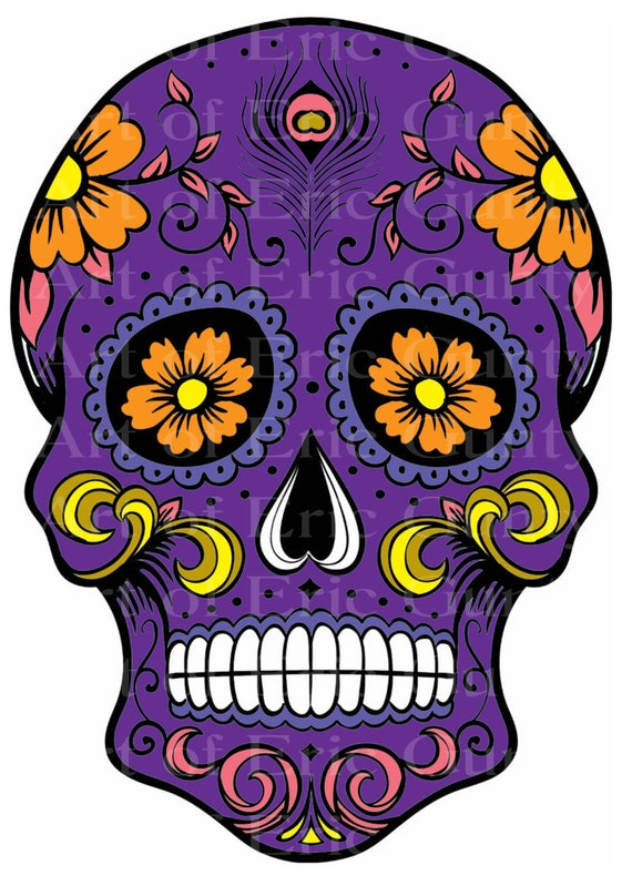 Purple Sugar Skull Halloween Birthday - Edible Cake and Cupcake Topper For Birthday's and Parties! - D22659