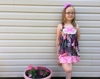 Flower sundress beautiful ruffles pink and navy