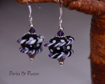 Glass earrings * twist * purple/black - ice - Lampwork Glass Beads
