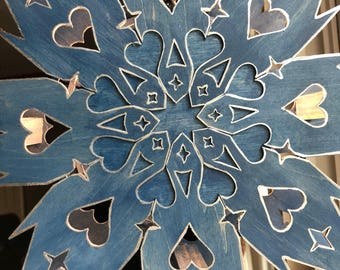 Scandinavian Star Light with indigo stain and  painted silver edging Welcome Nordic Swedish Finnish Star Memory Light Lamp