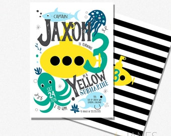 Under The Sea Birthday Invitation | Yellow Submarine Birthday Invitation | Under The Sea Digital Printable - 5X7 with *bonus reverse side""