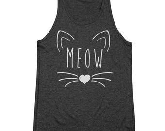 Meow Heart Cute Kitten Cat Outfit Tee Top Tri-Blend Tank Top DT1573