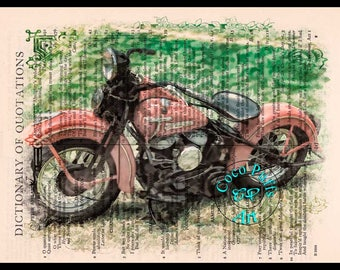 1948 WL Panhead Red HD Motorcycle Drawing Art - Vintage Dictionary Page Art Print Upcycled Page Print