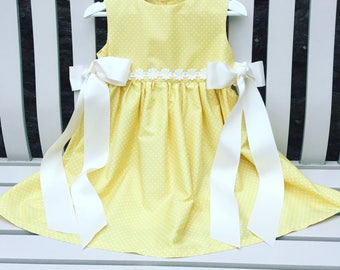 CAN BE PERSONALISED - made to fit Daisy dress in quality 100% cotton lemon fabric ages 12 months to 6 years