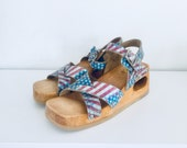 70s Clog Platform Sandals Wedge Wood Sandals Cut Out Heels Leather Size 8 8.5 39 40 Dr Scholls