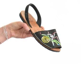 Vintage 80's Black Suede Pattern Sandals