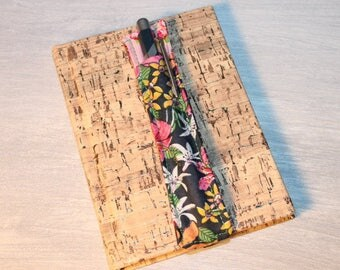 Case for notebook pink, green and Navy floral pen holder