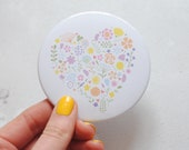 Pretty floral heart mirror – teacher gift – pocket mirror – mum gift – pocket mirror –gift for her – bridesmaid gift – gift for mother