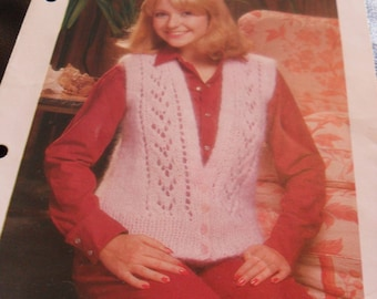 Vintage Knitting Pattern - lacy waistcoat - 1970's