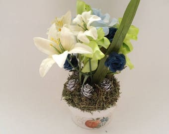 White Pinecones in an Artificial Floral Arrangement in Pumpkin Embossed Base with Colorful Flowers - 929