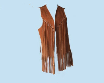 70s Vintage Tan Leather Silver Ring Open Front Mexican Fringed Vest