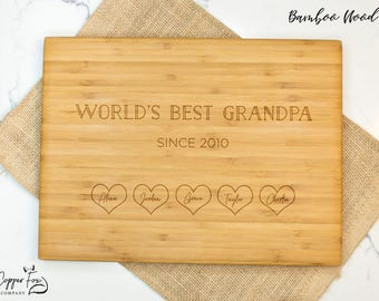Father's day cutting board, gift for grandpa, world's best grandpa gift, bamboo cutting board, wooden cutting board father's day - 050